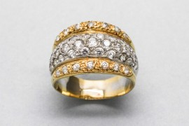 18kt White & Yellow Gold Zircon Ring