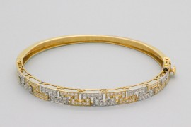 18kt White & Yellow Gold Zircon Bangle