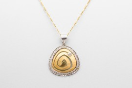 18kt White & Yellow Gold Zircon Pendant