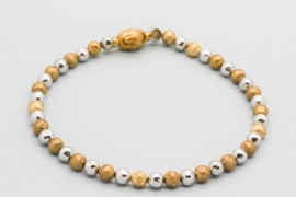 18kt White & Yellow Gold Bead Bracelet
