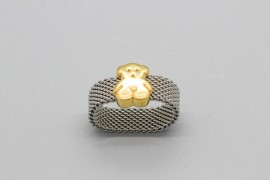 18Kt Yellow Gold & Stainless Steel Ring