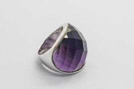 925 Sterling Silver Purple Crystal Ring