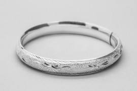 Diamond Cut & Sand Finish Silver Bangle
