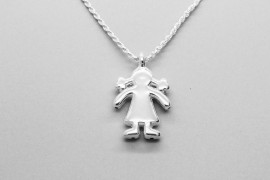 Silver Girl with Pigtials Pendant