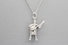 Sterling Silver Guitar Player Pendant