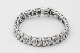 Rhodium Plated Silver Flower Bracelet